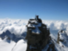 The traditional summit of Gran Paradiso with the madonna statue on top