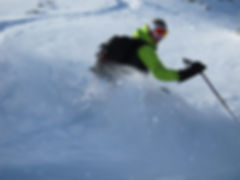 Skiing powder in La Grave with a mountain guide