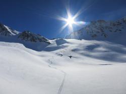 Great powder ski descent on ski tour