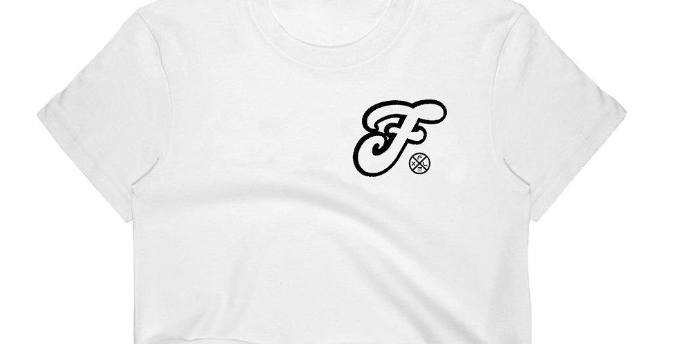 F Script Crop Top - White