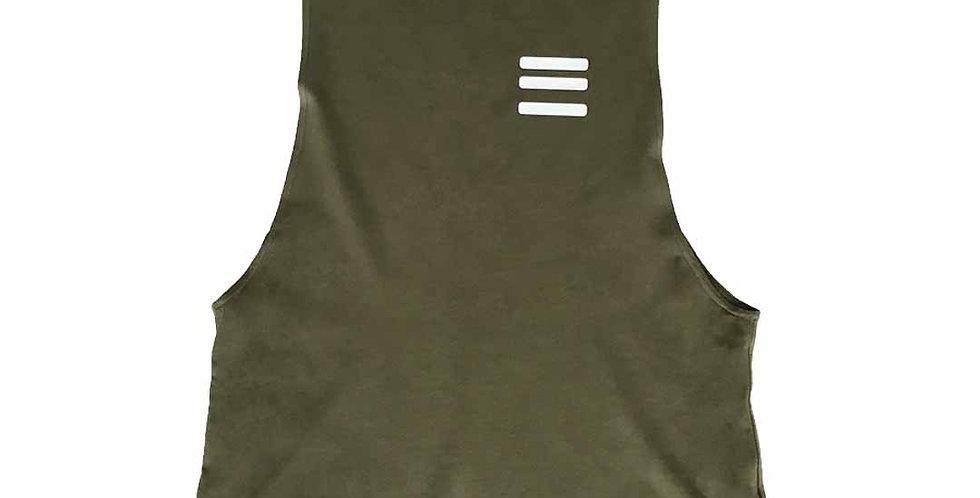 Three Stripe Tech Tank - Olive Green