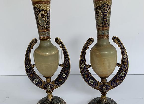 Paire de vases en marbre et cloisonnée (1)
