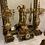 Thumbnail: Garniture de cheminée en bronze et  marbre rouge