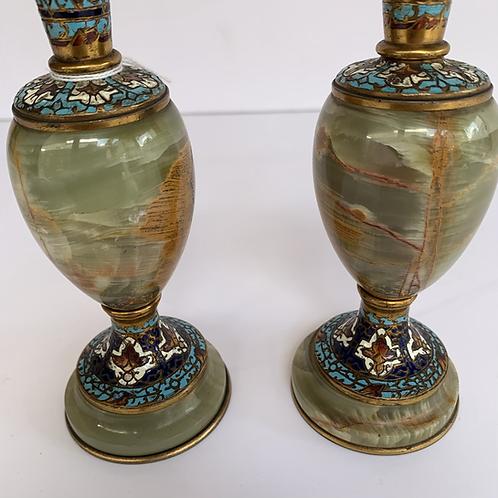 Paire de vases en marbre et cloisonnée (3)