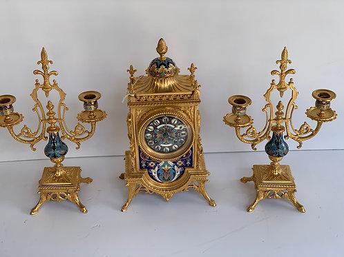 Garniture de cheminée en bronze et cloisonnée