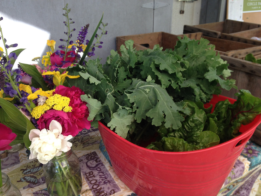 Flowers & kale, Peachtree Circle Farm