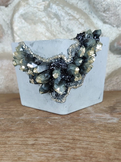 (#441) Black Mirror LUXE Crystal Geode - Square