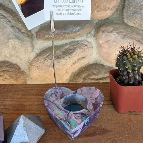 [#6] Cement Heart Photo Holder - Color Swirl