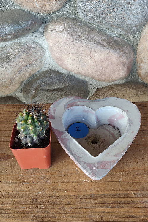 [#2] Multi Pink Marbled Heart Pot