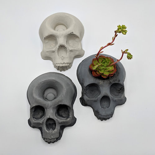 """Mini 8"""" Cement Skull (natural/grey/marbled)"""