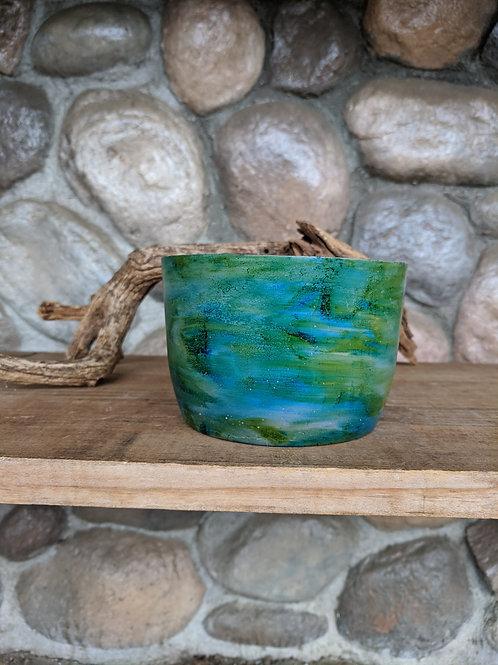 (#59) Blue & Green Swirl Pot (medium cylinder)