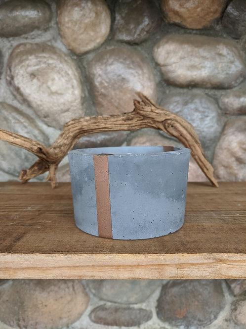 (#41) Grey & Single Copper Stripe Pot (fat pot)