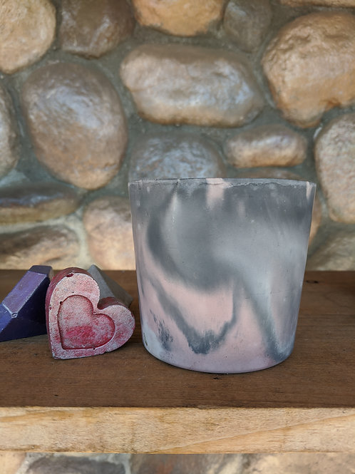 [#12] Sm. Marbled Pot - Pink & Grey