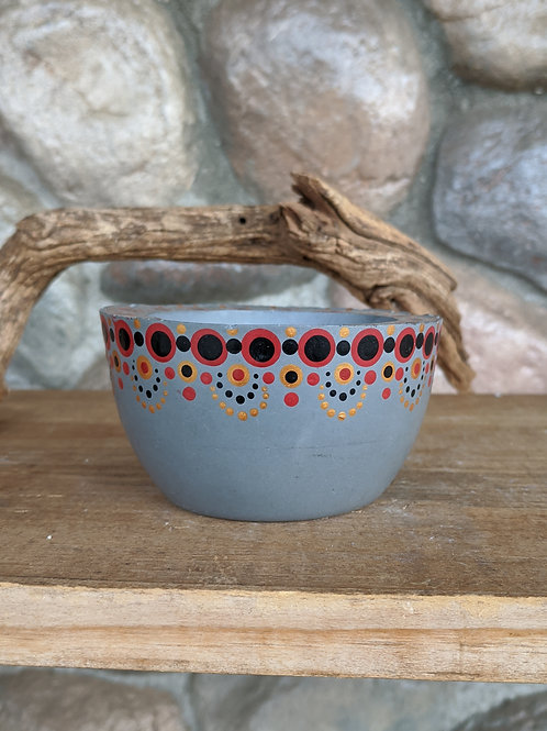 (#66) Red & Gold Dot Pot Bowl (small)