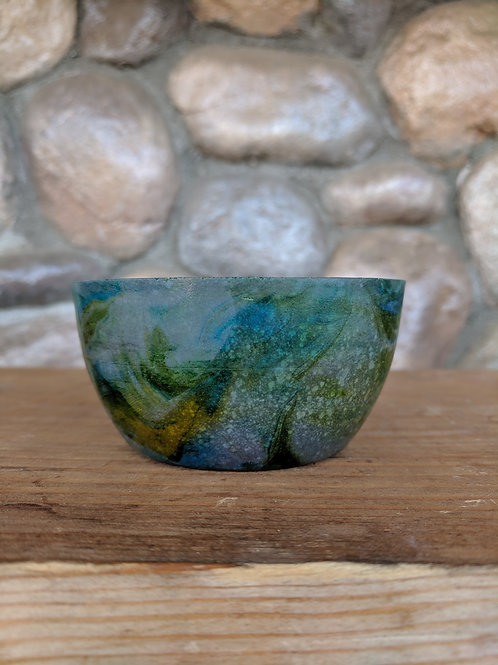 Green/Blue Grey Marbled Bowl - Small