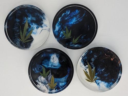 Cannabis & Smoke Coasters - Set of FOUR