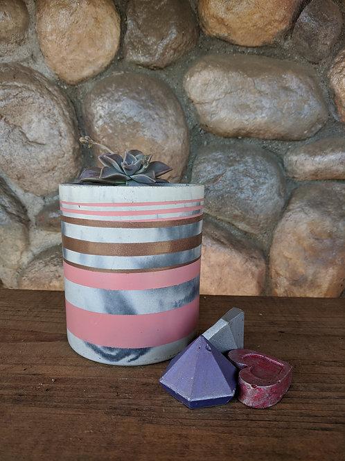 [#11] Med. Slim Cylinder - Pink & Gold Stripes