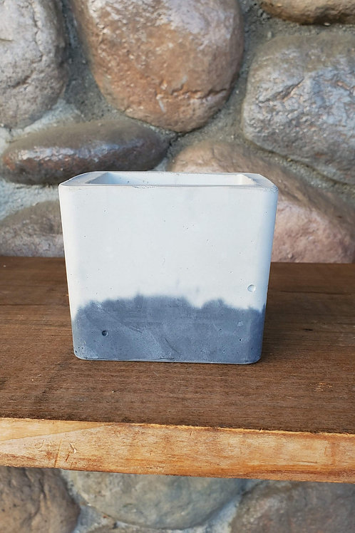 Square Cement Pot - Grey Bottom