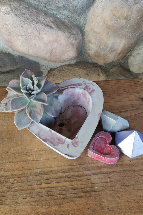 [#3] Pink Marbled Heart Pot