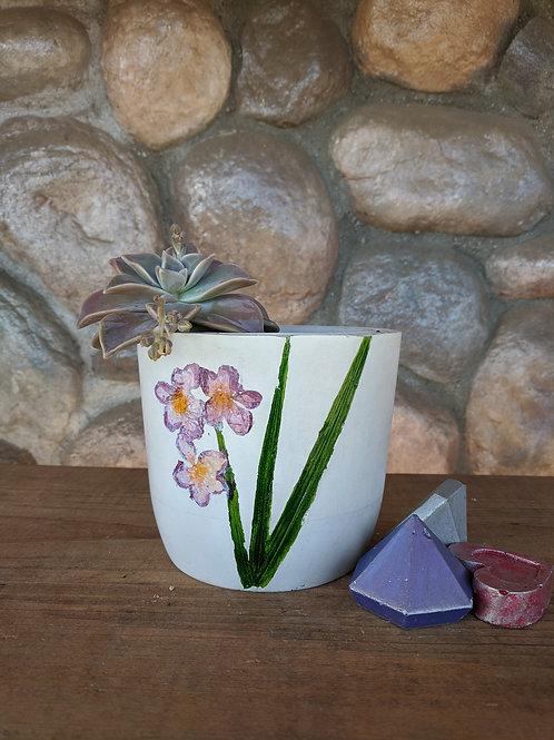 [#10] Botanical Pot -Purple Flowers (medium cylinder)