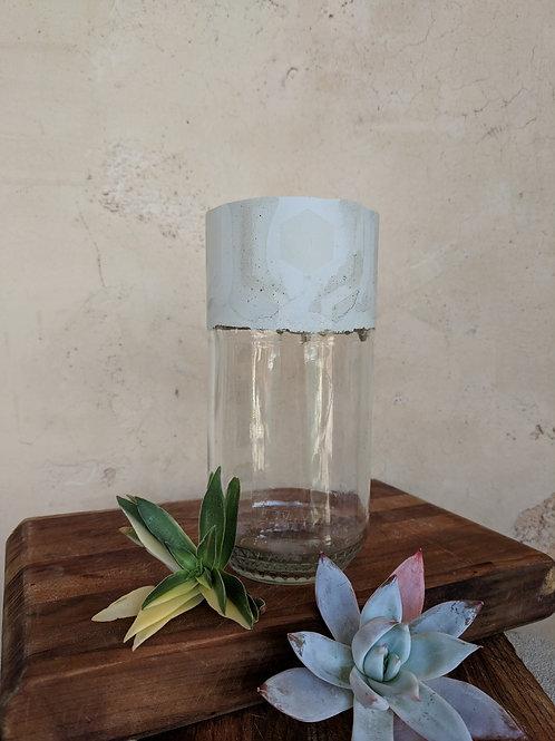 Tall Glass & Cement Jar