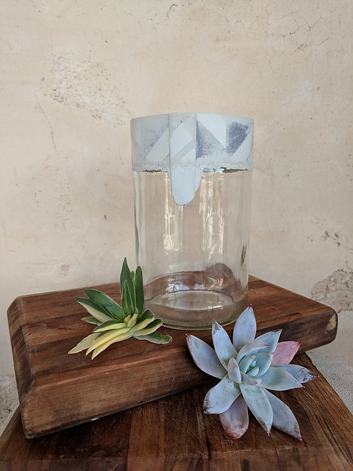 Large Glass and Cement Jar