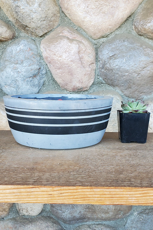 (#3111) Cement Bowl with Black Line Embellishment