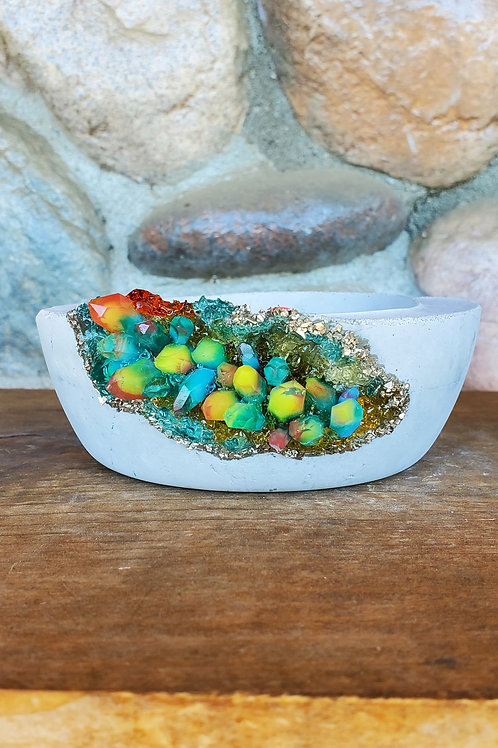 (#510) Neon Rainbow LUXE Crystal Geode - Sm shallow bowl