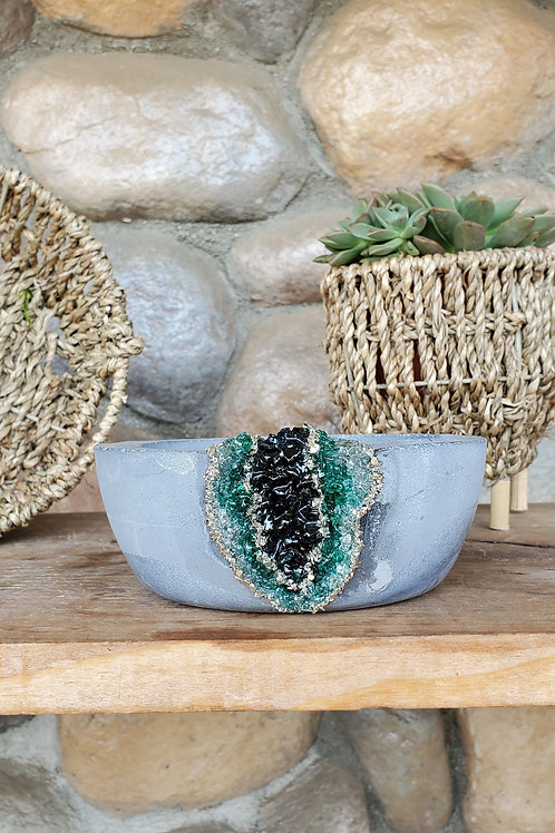 (#945) Mightnight & Emerald LUXE Geode - Sm Shallow Bowl