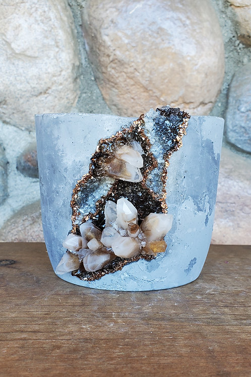 (#501) Albite-esque LUXE Crystal Geode - Org. Cylinder