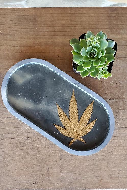 Gold Leaf Cannabis Tray - Marbled