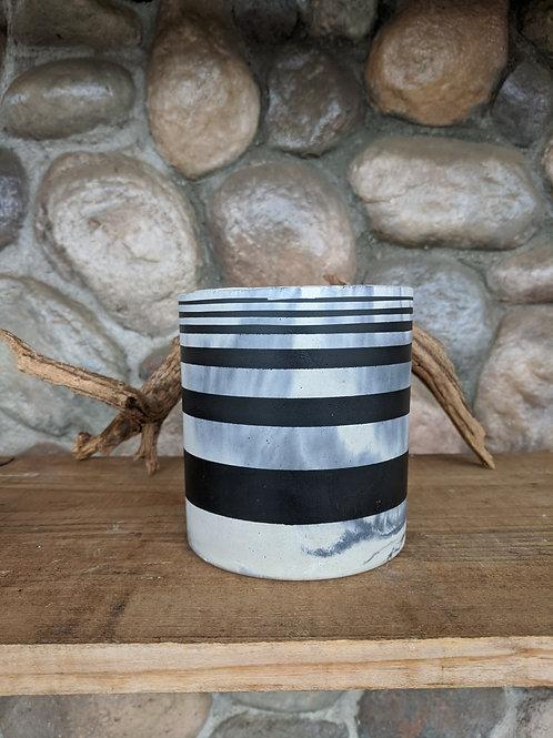 (#44) Marbled Pot w/Black Stripes (slim cylinder)