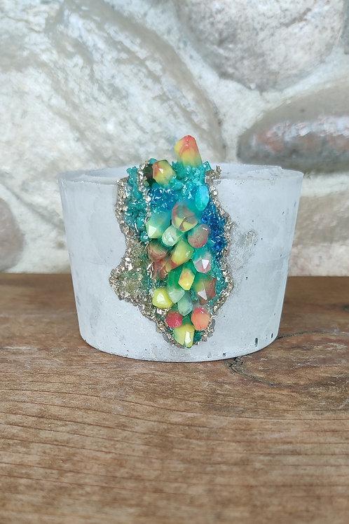 (#455) Neon Rainbow LUXE Crystal -Sm Pot* Straight