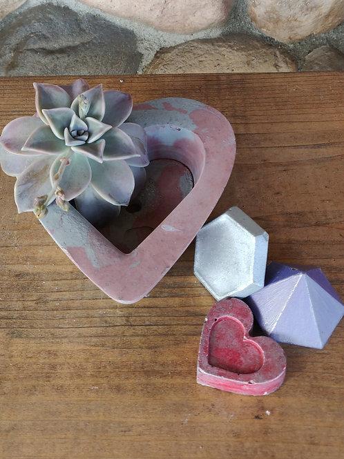 [#1] Dark Pink Marbled Heart Pot