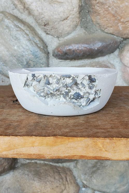 (#307) Silver Druzy - Sm Shallow Bowl