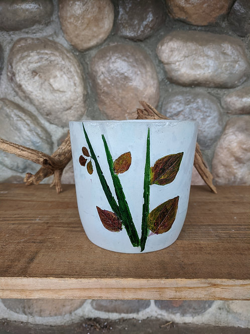 (#51) Botanical Leaves Pot (medium cylinder)