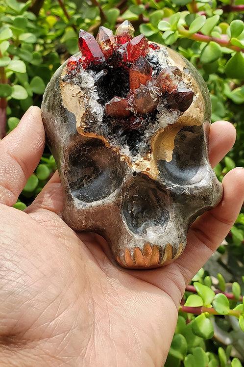 Mini Crystal Geode Skull - Red