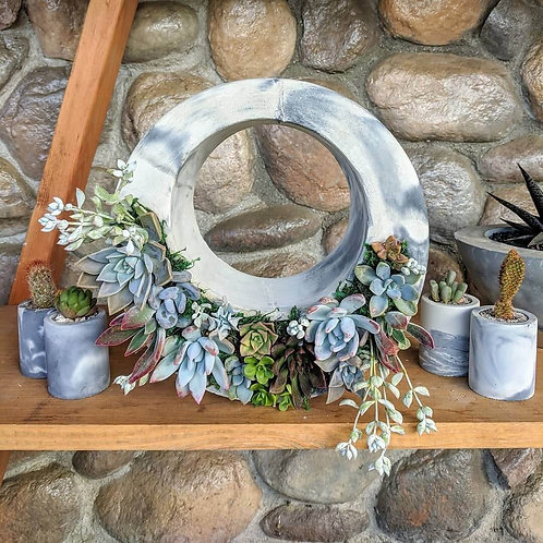 Cement Succulent Wreath
