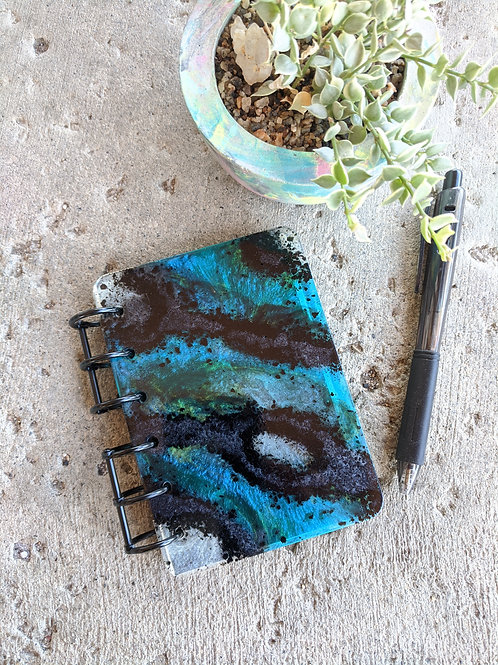 Teal & Black Geode Resin Notebook - small