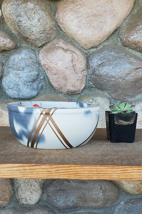 (#3115) Marbled Bowl with Copper Detail