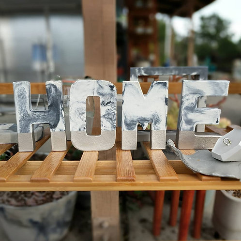 Marbled Cement & Gold Letters: HOME