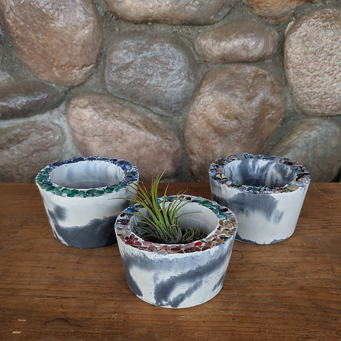 Marbled Cement & Gem Pot - Small
