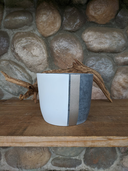 (#48) Grey Pot with Gold & White Accents (medium cylinder)
