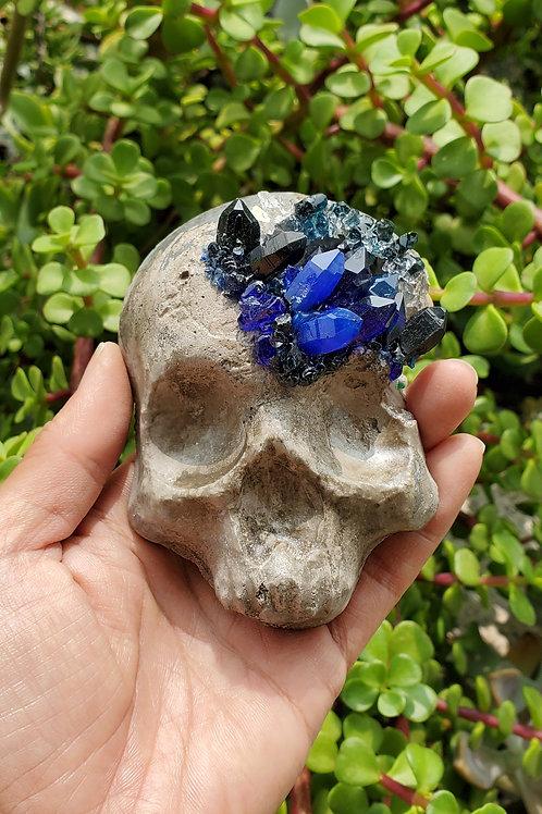 Mini Crystal Geode Skull - Blue