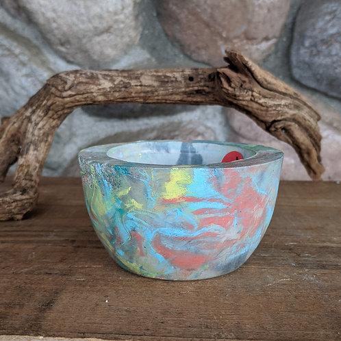 (#64) Yellow & Teal Swirl Bowl (small)