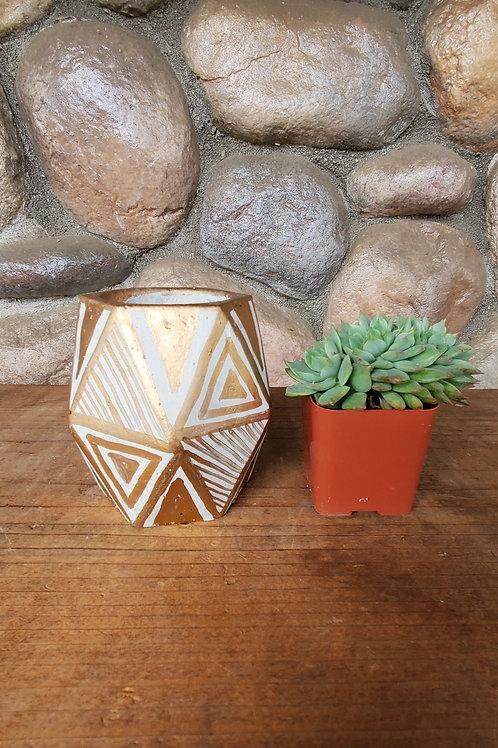 (#131) Geometric Gold Leaf Pot