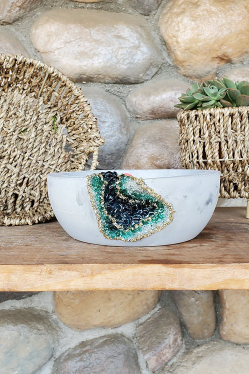 (#930) Seal Blue & Emerald LUXE Geode -Md Shallow Bowl