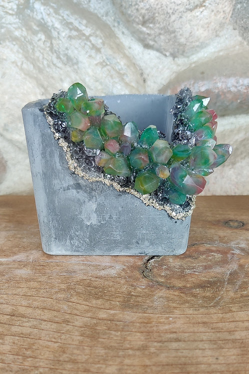 (#442) Grey Rainbow LUXE Crystal Geode - Square*CUTOUT