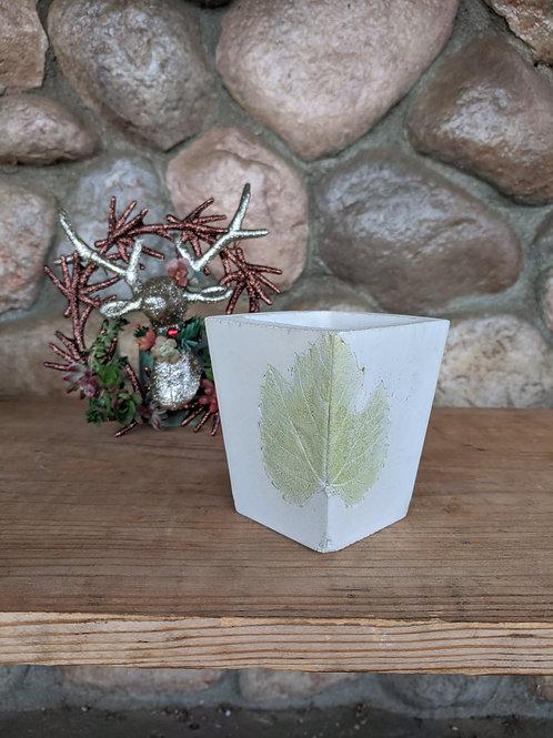 (#104) Square Leaf Imprint Pot