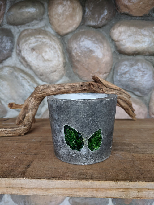 (#56) Vintage Grey & Green Leaves Pot (small)